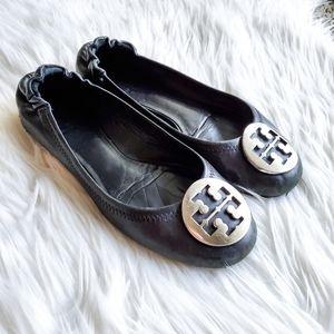 Tory Burch Black and Silver Reva Flats